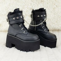 """Ashes 57 Black Heart Studs 3.5"""" Platform Goth Boots Fur Lined Cuffs & Chain NY"""