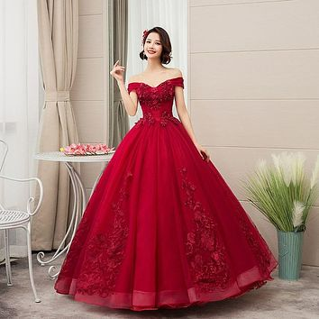 2021 New Off The Shoulder Luxury Lace Party Vestidos 15 Anos Vintage Quinceanera Dresses 4 Colors Quinceanera Gown F