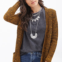 FOREVER 21 Two-Tone Knit Cardigan Mustard/Black