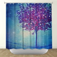 DiaNoche Designs Shower Curtains by Arist Monika Strigel Unique, Cool, Fun, Funky, Stylish, Decorative Home Decor and Bathroom Ideas - Song of the Winterbird
