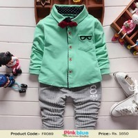 Green Casual Shirt and Grey Pants Trendy Baby Boy Clothing