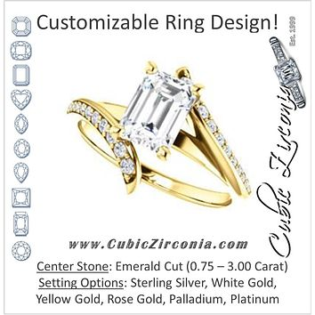 Cubic Zirconia Engagement Ring- The Cassy Anya (Customizable Emerald Cut Artisan Bypass with Pavé Band)