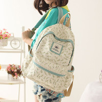 Fresh Floral Pastoral Style Students Bags Canvas Backpack