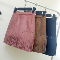New Autumn Winter Fashion Wild Retro Fringed Suede High Waist Skirt Women Package Hip Slim Skirts