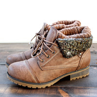 cozy womens sweater boots - taupe