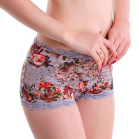 Sexy Women's Floral Lace Boyshorts Panties Mid Waist Lift The Hips Briefs Women Fashion Breathable Soft Boxer Underwear