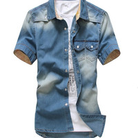 2015 Gradient Men Denim Shirts Short Sleeve Camisa Chambray Mens Dress Shirt Collar Button Up Men Denim Shirts Chemise S1208
