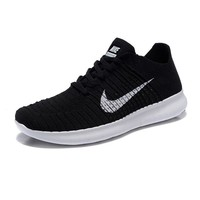 """NIKE"" Fashion Women Men Comfortable Knitted Net Surface Breathable Running Sport Shoes Sneaker 2# Black"