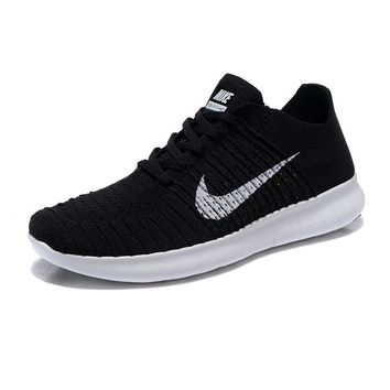 """""""NIKE"""" Fashion Women Men Comfortable Knitted Net Surface Breathable Running Sport Shoes Sneaker 2# Black"""
