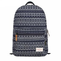 MagicPieces Geometric Shape Print Canvas School Bag Travel Backpack 042304 Z0504 Color Dark Blue