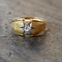 Vintage Clark and Coombs Ring Faux Diamond Starburst 1/20 10K Gold Filled Mens Ring Size 11 Mid Century 1960's // Vintage Designer Jewelry