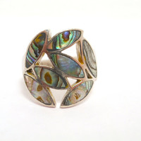 Vintage Sterling Silver Abalone Inlay Ring Size 8