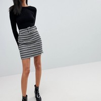 ASOS Mini Skirt in Check with Self Belt at asos.com