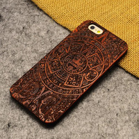 Retro Totem Nature Wood/Wooden Cover Case for Apple iPhone 5 5s SE 6 6s 6 Plus 6s Plus