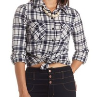 Long Sleeve Plaid Flannel Button-Up Top - Navy Combo