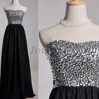 Long Black Sweetheart Prom Dresses,Crystal Beaded Prom Dresses,Long Chiffon Evening Dresses,Ball Grown Party Dresses 2015,Homecoming Dresses