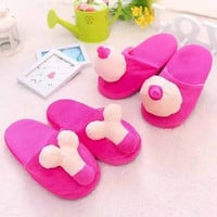 Winter Hot selling Penis Slippers Home lovers Shoes For Women Fuzzy Funny Tricky adult slippers  Warm Soft Cotton Floor Slippers