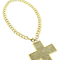 NECKLACE / CROSS / CRYSTAL BEAD / METAL / LINK / 3 1/2 INCH DROP / 18 INCH LONG / NICKEL AND LEAD COMPLIANT