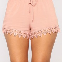 Joanna Lace Trim Shorts - Mauve