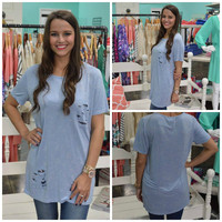 Blue Distressed Top with Sequins