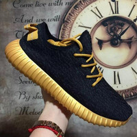 "Fashion ""Adidas"" Yeezy Boost Solid color Leisure Sports shoes Black golden soles"