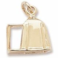Camping Tent Charm In Yellow Gold