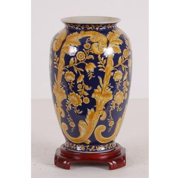 Blue and Yellow Vase (with wooden stand)