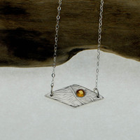 OOAK Fine Silver Pendant with 4mm Mandarin Orange Citrine  - Ready To Ship