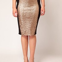ASOS CURVE Pencil Skirt With Sequin Panel at asos.com