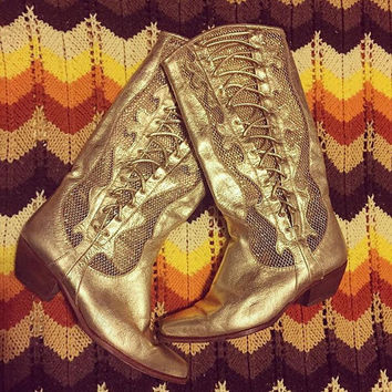 80s Italian Gold Western Boots   womens 6.5 metallic gold cowgirl laceup boots leather unique funky mesh cowboy boots