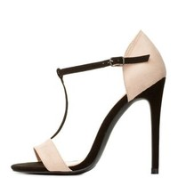 Nude Combo Color Block T-Strap Dress Sandals by Charlotte Russe