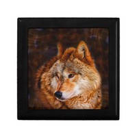 Red wolf fractal jewelry boxes