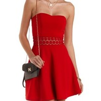 Crochet Cut-Out Strapless Skater Dress by Charlotte Russe - Red
