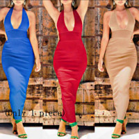 Best selling new women's deep V hanging neck dress sexy backless dress(Only 1 piece)