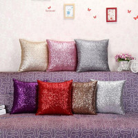 2016 Fashion Hot Solid Color Glitter Sequin Throw Pillow Case Cafe Home Decor Cushion Covers Home Decor Car Seat Sofa Decorative