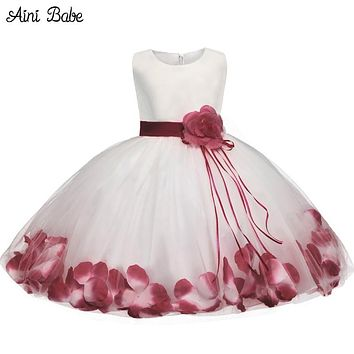 Babe Flower Baby Girl Christening Gown Clothes born Baby Girl Birthday Dress Infant Kids Party Dresses