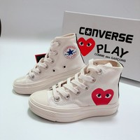 CDG Play x Converse Chuck Taylor 70s All Star High Top White Black Canvas Child Sneaker Toddler Kid Shoes - Best Deal Online