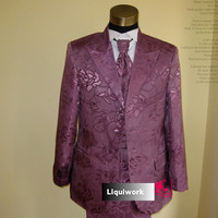 Mens Fancy Fuchsia Floral Three Button Prom Wedding Dress Suit Stores SKU-123061