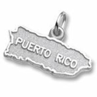 Puerto Rico Map Charm In Sterling Silver