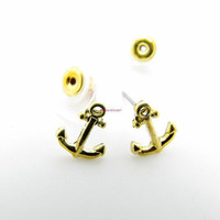 ancient vintage style, gold tiny anchor earrings ,unique earrings EH46