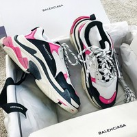 Balenciaga Mixed Colors New Fashion Retro Sneakers Couple Running Shoes Pink&White
