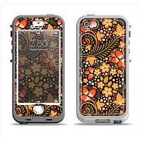 The Colorful Floral Pattern with Strawberries Apple iPhone 5-5s LifeProof Nuud Case Skin Set