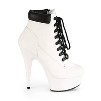 "Delight 600tl-2 White Nubuck Work Style 6"" High Heel Ankle Boots 5-14"