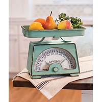 Decorative Vintage Inspired Distressed Mint Green Kitchen Scale