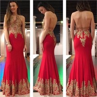 Sexy Halter Backless Long Prom Dresses Gold Appliques Beads Chiffon Mermaid Prom Party Gowns