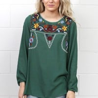 Tied Long Sleeves w/ Embroidered Yoke Blouse {Hunter Green}