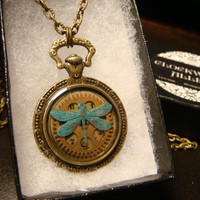 Dragonfly Pocket Watch Style Steampunk Pendant Necklace (1861)