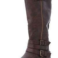 Tall Riding Boot with Exposed Outer Zipper and Ankle Straps