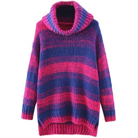 Turtleneck Gradient Pattern Side Slit High-Low Knitted Sweater