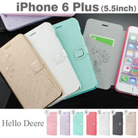Hello Deere Feather Stand Type Silk PU Diary Case for iPhone 6s Plus / 6 Plus